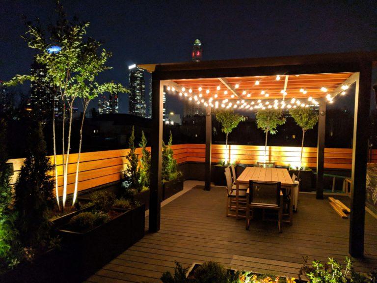 wooden pergola design nyc lighting